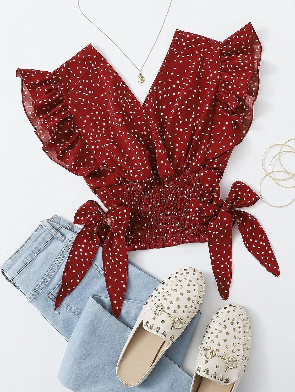 MakeMeChic Women's Plus Size V Neck Polka Dots Ruffle Trim Knot Side Crop Tank Top