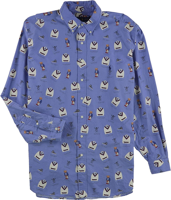 Ralph Lauren Mens Printed Button Up Shirt, Blue, XLT