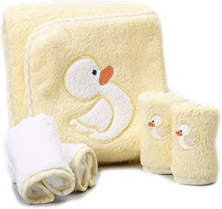 Spasilk 100% Cotton Hooded Terry Bath Towel with 4 Washcloths, Yellow