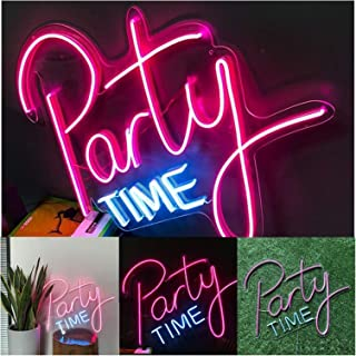 Neon Lights Party Time Led Neon Sign Light, Wall Sign Art Decorative Signs Lights for Party Holiday Wedding Decoration Sig...