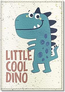 Kids Vegan Eco Leather Passport Cover, Passport Holder (Little Cool Dinosaur)