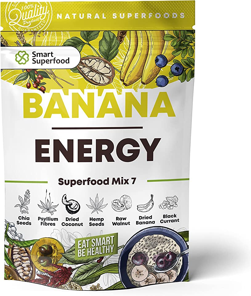Superfood Pulver Mix Glutenfreie Lebensmittel Smoothie Pulver Vegan Mahlzeitersatz Chia Samen Gesunde Snacks Mit Getrocknete Bananen Und Schwarze Johannisbeere