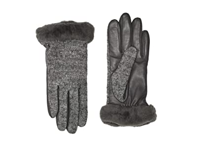 UGG Fabric Leather Shorty Tech Gloves with Sherpa Lining (Charcoal) Extreme Cold Weather Gloves