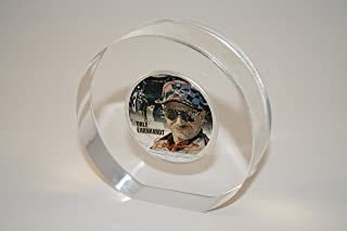 DALE EARNHARDT SR 2001 American Silver Eagle Colorized Coin Lucite Paperweight