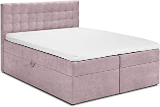 Mazzini Beds Ensemble Jade De Lit Boxspring: Tête de lit + Sommier Coffre/Matelas + Surmatelas, Jade, Rose, 200x160x60