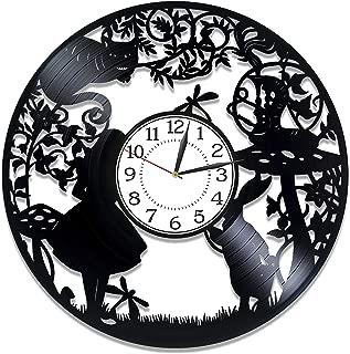 Kovides White Rabbit Vinyl Record Clock Alice in Wonderland Wall Clock 12 Inch Walt Disney Handmade Clock for Kids Movie Original Home Decor Alice in Wonderland Birthday Gift Idea