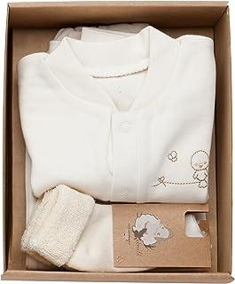 The Dida World, The Dida World Narinan - Conjunto 3 piezas de algodón orgánico, bordado pajarito, talla 1-3 meses, color beige