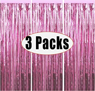 Fecedy 3pcs 3.2ft x 6.6ft Light Pink Metallic Tinsel Foil Fringe Curtains Photo Booth Props for Birthday Wedding Engagement Bridal Shower Baby Shower Bachelorette Holiday Celebration Party Decorations