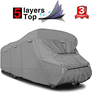 RVMasking Extra-Thick 5-ply Top Class C RV Cover, Fits 29'-32' RVs - Breathable Waterproof Ripstop Anti-UV Class C Cover with 10 PCS Windproof Buckles & Adhesive Repair Patch(25.4
