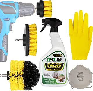 Complete Mold And Mildew Remover Killer Kit: RMR-86 Black Stain control Cleaner Removal Spray, Drill Brush Power Scrubber Attachment Set, 1 3M N95 Particle respirator Mask, 1 Thick Medium Latex Gloves