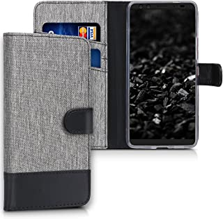 kwmobile Wallet Case for HTC U12+ / U12 Plus - Fabric and PU Leather Flip Cover with Card Slots and Stand - Grey/Black