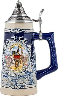Germany Munich Stoneware Raised Relief Decoration Half Liter Beer Stein with Pewter Lid