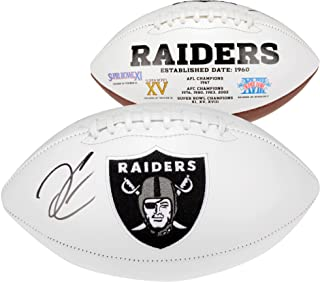 Derek Carr Oakland Raiders Autographed White Panel Football - Fanatics Authentic Certified - Autographed Footballs