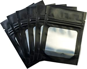 HANSER   Smell Proof Odorless Mylar Resealable Foil Pouch Bags with clear Window   Food Safe   Airtight   matte black   100 Pieces   3x4 inches