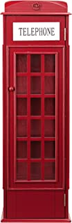 Red Phone Booth Storage Cabinet - 5 Fixed Shelves - Magnetic Door Closure