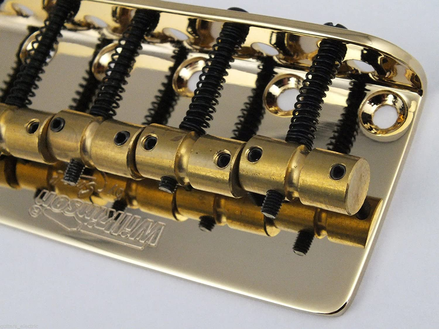 Gold Wilkinson WBBC5 Bass Bridge with Brass Saddles Replacement Part for 5 String Precision Jazz Bass