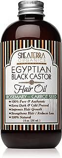 Shea Terra Organics Egyptian Black Castor Oil for Hair Growth – Rosemary & Carrot Seed - All Natural Hair Treatment - 8 oz