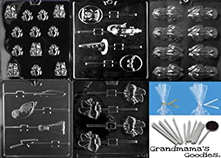 Grandmama's Goodies Harry Potter Themed Party Chocolate Mold Kit - Includes 5 Molds (Frog, Bees, Wizards), 100 Sticks, 100 Bags, 100 Ties & exclusive detailed molding instructions