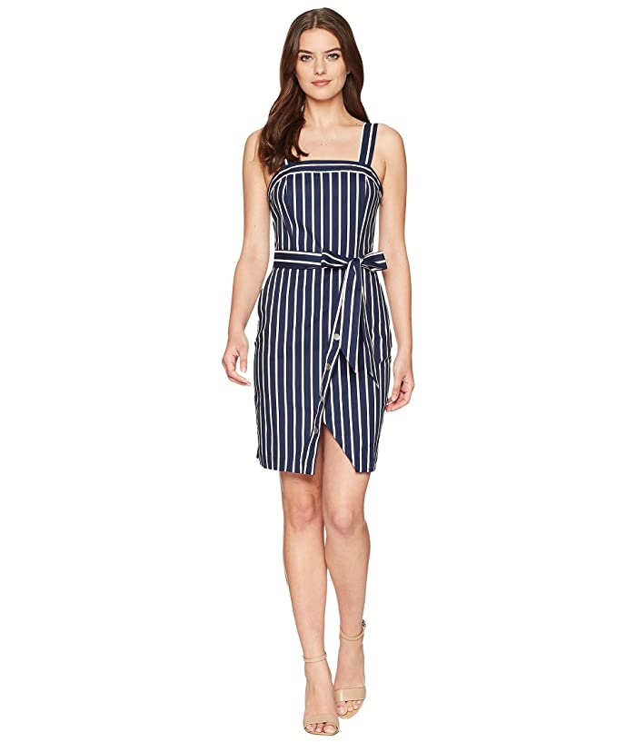 J.O.A. Stud Detail Overlap Dress (Navy Stripe) Women