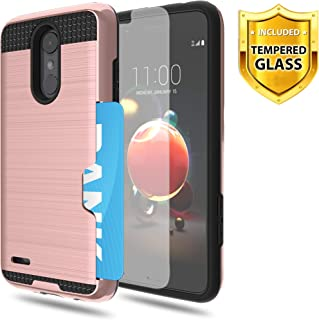 LG Aristo/LG Aristo 2/LG Aristo 2 Plus Phone Case,WINGLIKE [Credit Card Slots Holder][Glass Screen Protector] TPU Silicone Rubber +PC Armor Shockproof Protective Anti-Scratch Bumper Cover-Rose Gold