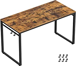 """VASAGLE Computer Writing Desk, 47 Inch Office Study Table, Work from Home, with 8 Hooks, Metal Frame, Industrial, 47.2"""", Rustic Brown"""