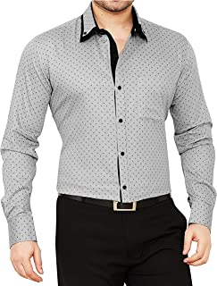 GLOBALRANG Men's Cotton Casual Polka Printed Shirt