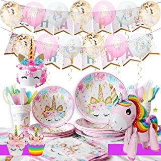 Unicorn Party Supplies Kit - Girls Magical Birthday Party Supplies, Unicorn Birthday Party Decorations Include Unicorn Cake/Cupcake Toppers, Ballons, Tableware Set, Serves 16