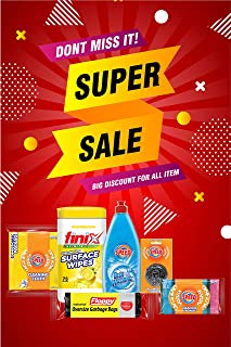SUPER CLEANING OFFER, 750ML DISHWASHING LIQUID, TRASH BAG SIZE 75X90, SURFACE WIPES, 5 PCS FLAT SPONG, 20' CLEANING CLOTH,...