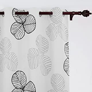 Deconovo Shamrock Flower Printed White Blackout Thermal Insulated Noise Reducing Room Darkening Curtains for Bedroom, W52 x L84 inch