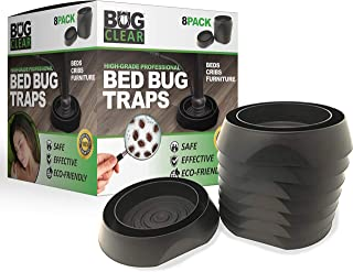 Bed Bug Traps Detectors Traps 8-Pack (Black) - High Grade Professional | No Talcum or Chemicals | Beds Cribs Furniture