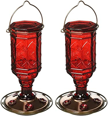 More Birds (2 Pack) Hummingbird Feeder Vintage Red Antique Glass Bottle, 20-Ounce Nectar Capacity Per Feeder