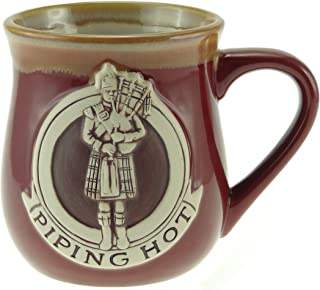 Stoneware Piping Hot Mug Featuring A Scottish Piper - Available in 2 colours