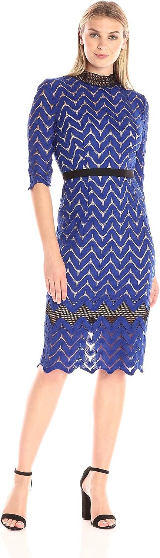 Jax Women's Elbow Sleeve Knit Lace Midi Sheath with Mock Neck Dress