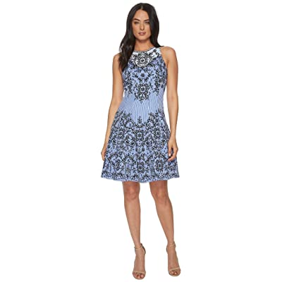 Maggy London Trailing Vine Cotton Sateen Fit Flare (Blue/Navy) Women