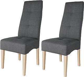Miroytengo Pack 2 sillas salón Comedor Color Gris Estructura y pies de Madera tapizado Tela