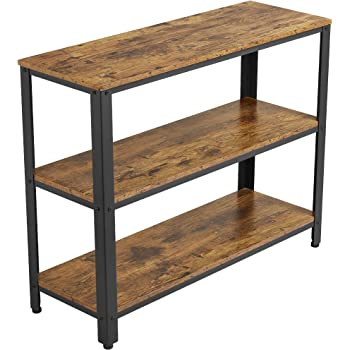 YAHEETECH Industrial Console Table,Entryway Side Table with 3 Tier Storage Shelves, Hallway Side Table and Sideboard, Living Room, Kitchen, Corridor, Narrow, Vintage Rustic Brown