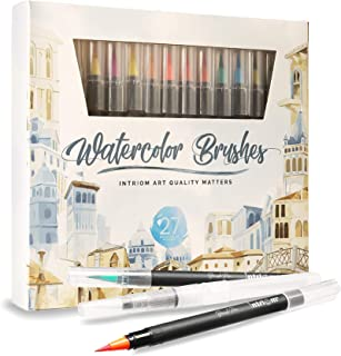 Watercolor Brush Pens Assorted Set | Colored + 3 Watercolor Brush Pens +8 Watercolor Paper | Complete Art Supply Coloring & Inking Markers W/Real Brush Tips & Carrying Case | Nontoxic (27)