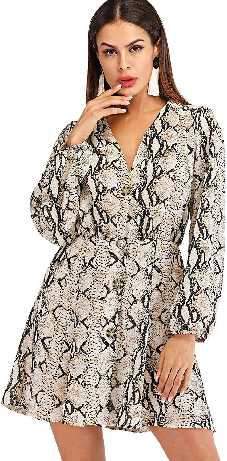 SheIn Women's Casual V Neck Long Sleeve Button Up Printed Short Dress