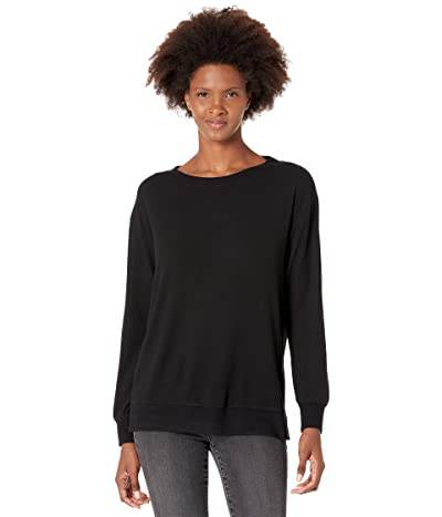 Mod-o-doc Light Brushed Jersey Long Sleeve Open Neck Cozy Sweatshirt Women
