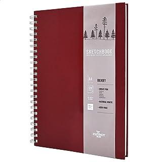 Stationery Island Serie de artistas Sketchbook A4 - Cereza. Cuaderno de dibujo de tapa blanda y dura con 120 pág. papel de 180 gsm. Para dibujar, esbozar, recortes y técnicas mixtas.
