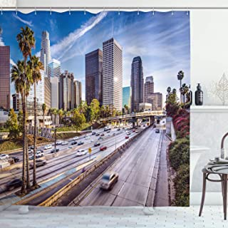 Ambesonne Travel Shower Curtain, Downtown Cityscape of Los Angeles California USA Avenue Buildings Palms Print, Cloth Fabric Bathroom Decor Set with Hooks, 70