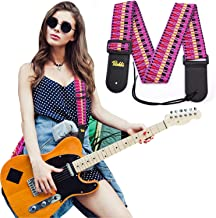 Acoustic Guitar Strap, Leather Guitar Strap for Bass Eletric Guitar Straps, Classic Cool Woven Guitar Shoulder Belt for Girls Boys Womens Mens (Color-A)