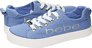 bebe Girls Big Kid Denim Fashion Sneakers Tie Up Slip On With Laces For Children