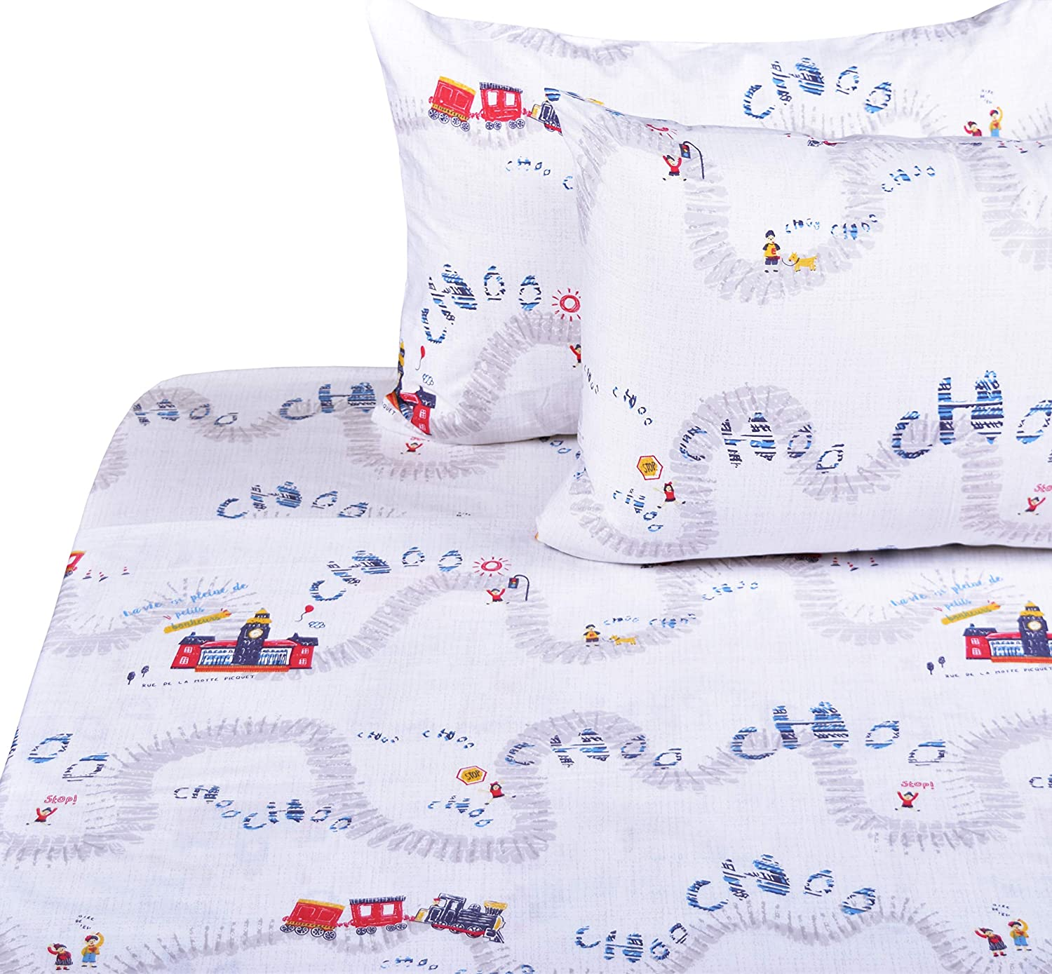 J-pinno Cute Train Travel Choo Limited Special Price Full Cheap mail order sales 100% Sheet Kids for Set Boys