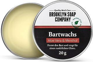 Natürliche Bartpflege: Beard Wax Bartwachs 20 gr Naturkosmetik der BROOKLYN SOAP COMPANY für Bartstyling von 3-Tage-Bart bis Vollbart – starker Halt, leichter Glanz - Beard Balm als Geschenkidee