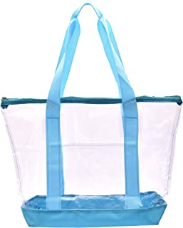 Clear Tote Bag - Top Zipper Closure, Long Shoulder Strap and Attractive Fabric Trimming. Perfect Transparent Travel Tote for all Places and Events where Clear Bags are Required. (Teal)
