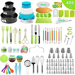 OTU Cake Decorating Supplies Kit, 406PC Cake Baking Tools with Springform Cake Pans Set,Cake Rotating Turntable Decorating Tools for Beginners and Cake Lovers