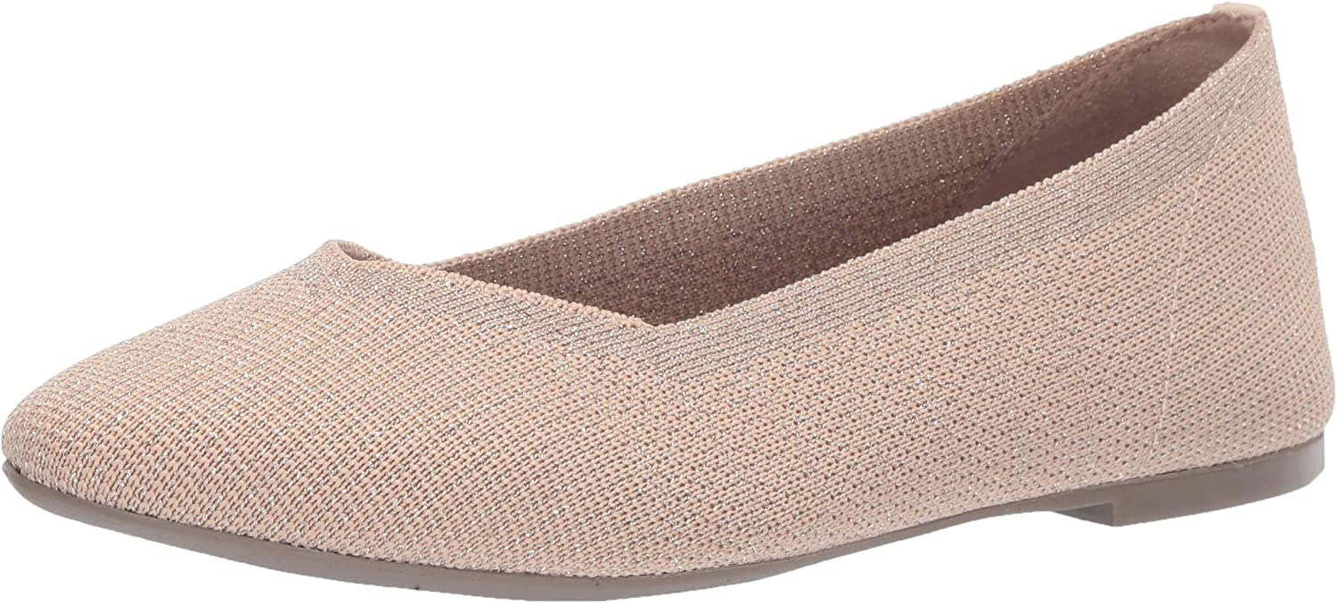 Skechers Womens Cleo - Skokie - Metallic Engineered Knit Skimmer Ballet Flat
