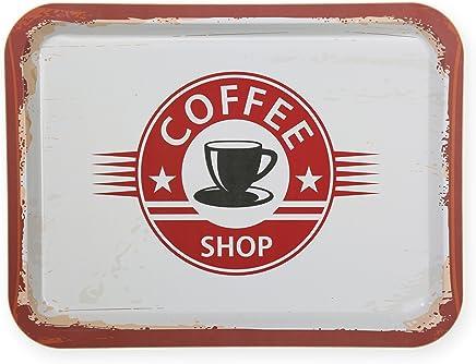 Preisvergleich für Haus und Deko Metall Tablett Vintage Style 40x30 cm rechteckig Tray Retro Serviertablett Coffee Shop