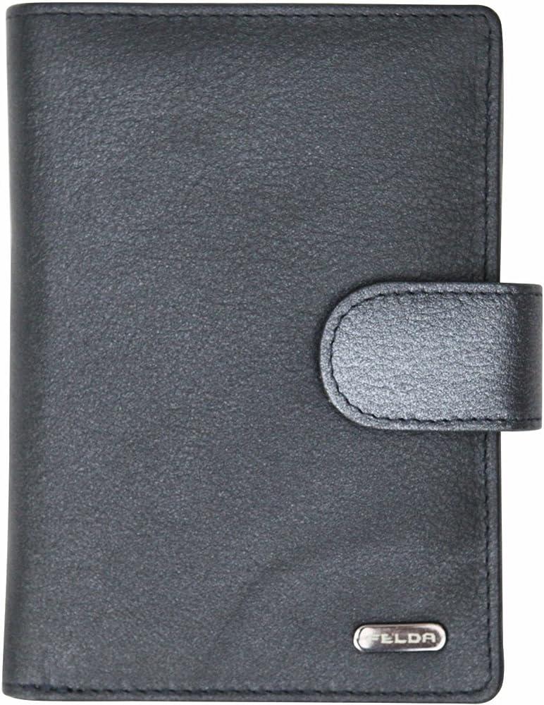 Felda, ampio portafoglio da donna, porta carte di credito, con blocco rfid, in vera pelle, nero 16-105 Metallic Navy Multi